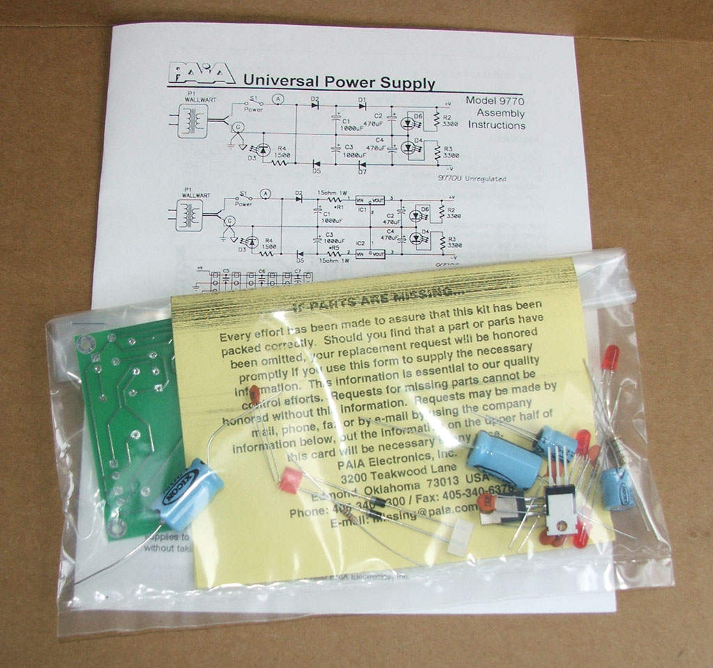 Paia 9770r 12 Regulated 12v Power Supply Kit Experimenters Dual View Larger Image